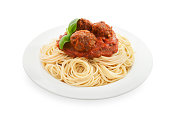 Spaghetti with meatball on white with clip path.  Please see my portfolio for other food and drink images.