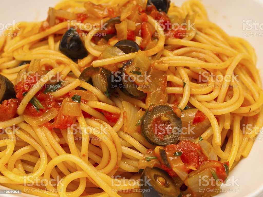 Spaghetti puttanesca royalty-free stock photo