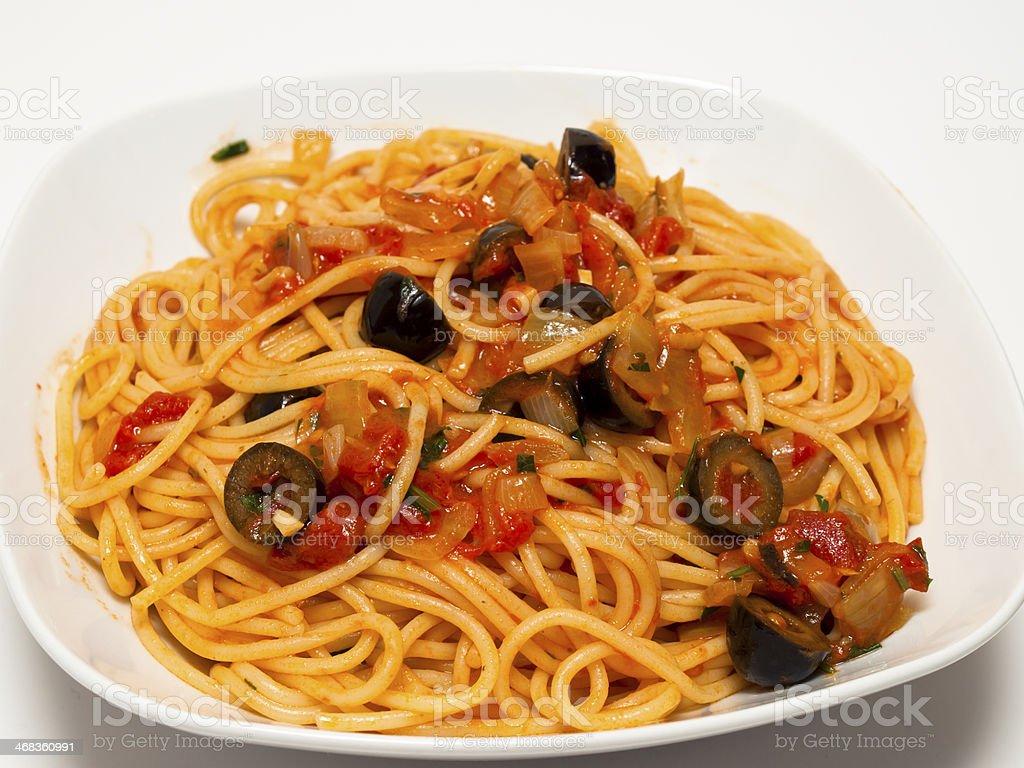 Spaghetti puttanesca royalty-free stock photo