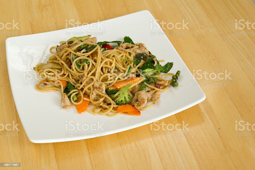 Spaghetti sauce spicy style in Thailand. stock photo