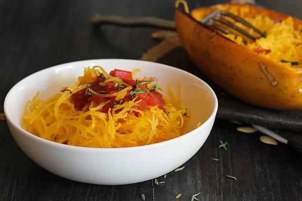 Spaghetti squash Pasta marinara served in a white bowl stock photo