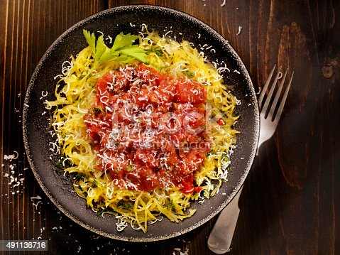 Spaghetti Squash with Tomato Sauce and Toasted Bread - Photographed on Hasselblad H3D2-39mb Camera