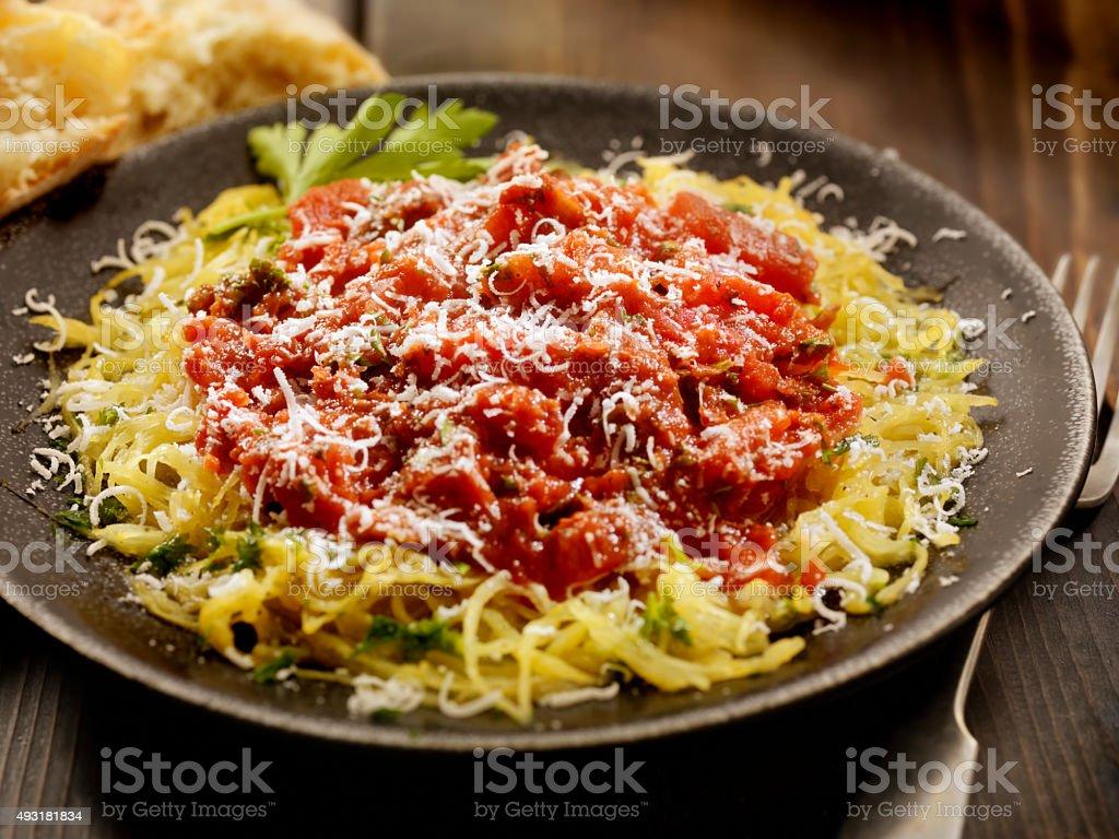 Spaghetti Squash with Tomato Sauce stock photo
