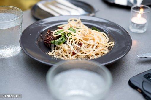 istock Spaghetti stir fried with spicy pork (Thai language Pad Kee Mao) 1170296111