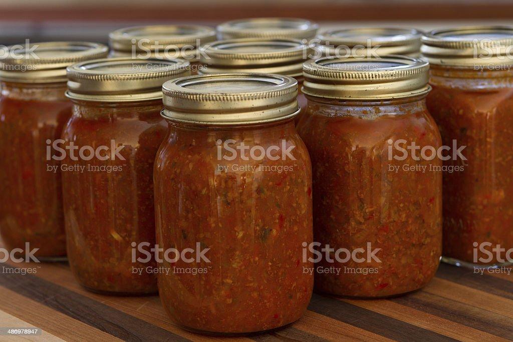 Spaghetti tomato sauce, many jar stock photo