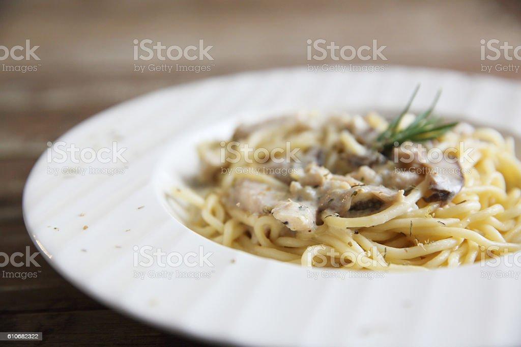 spaghetti white sauce with Chicken stock photo