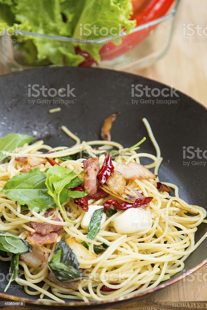 spaghetti with bacon royalty-free stock photo