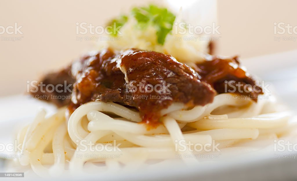 Spaghetti with beef and tomato sauce royalty-free stock photo