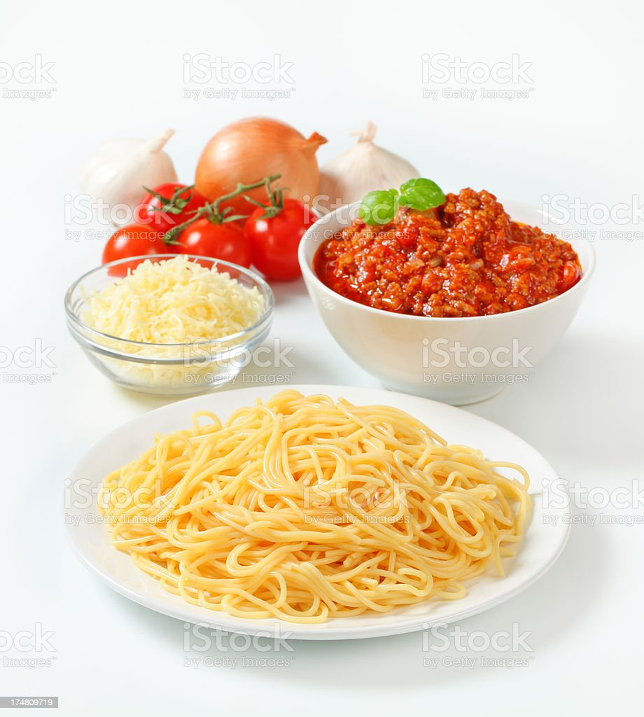 spaghetti with bolognese sauce, cheese and vegetables royalty-free stock photo