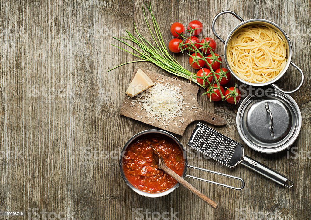 Spaghetti with bolognese sauce stock photo