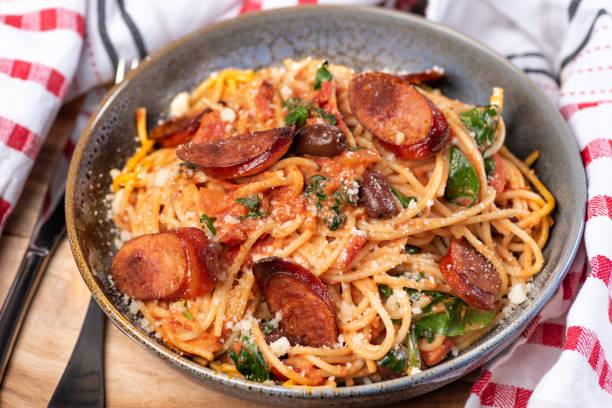 spaghetti with chorizo stock photo