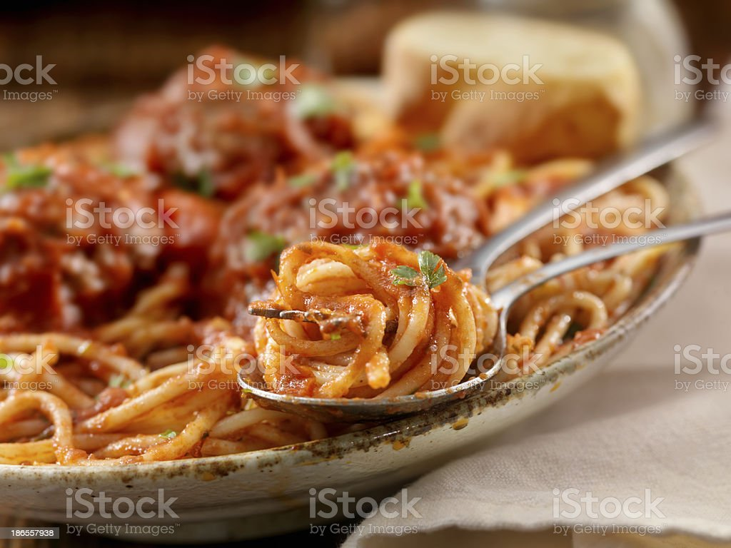 Spaghetti with Large Meatballs royalty-free stock photo