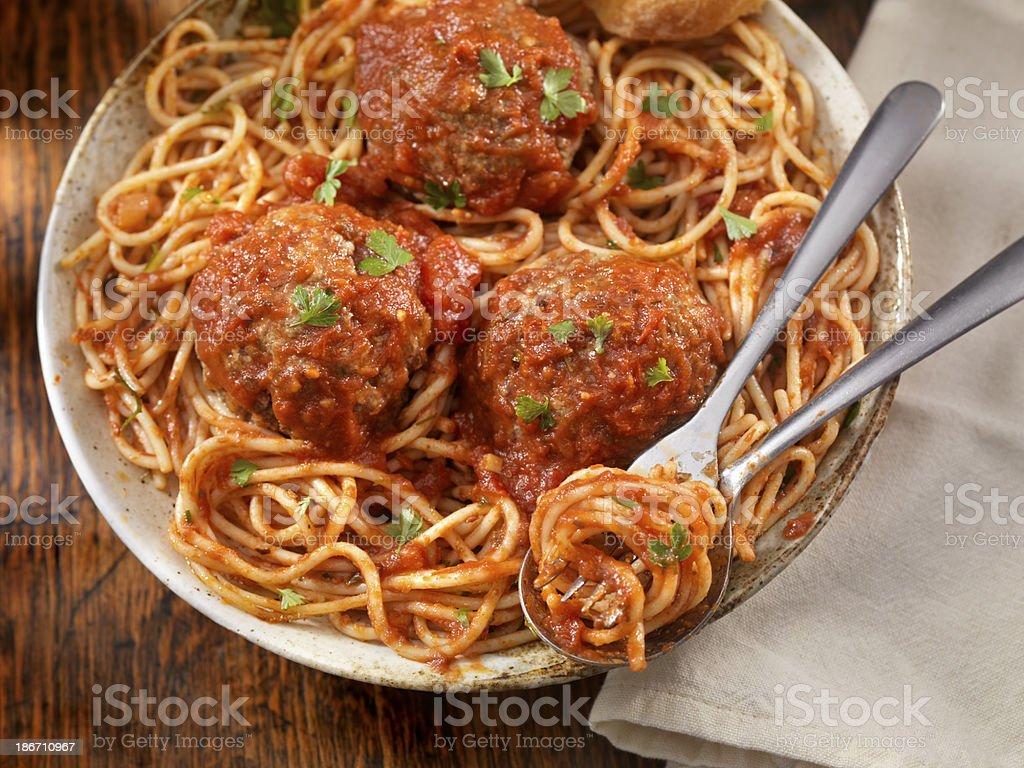 Spaghetti with Large Meatballs stock photo