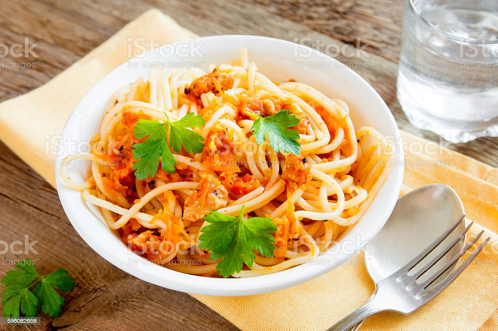 Spaghetti with meat and vegetable sauce royalty-free stock photo