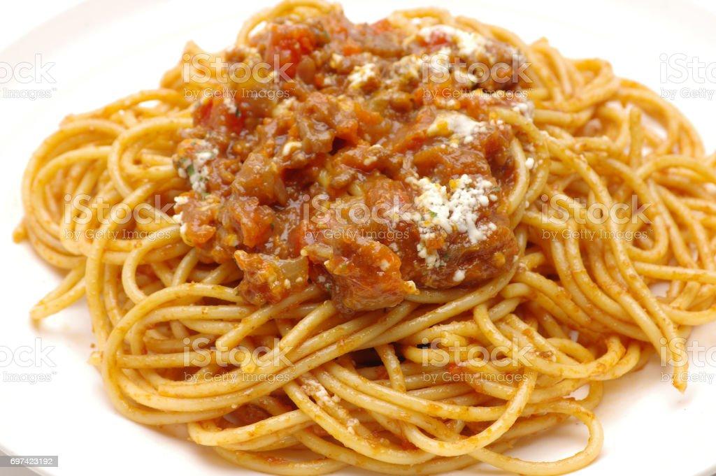 スパゲティ、ミートソース ストックフォト