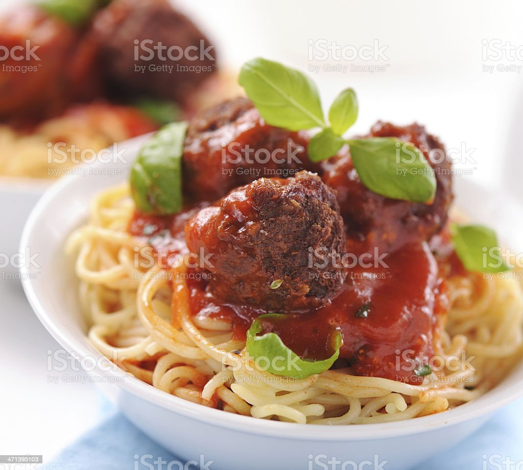 Spaghetti with meatballs royalty-free stock photo