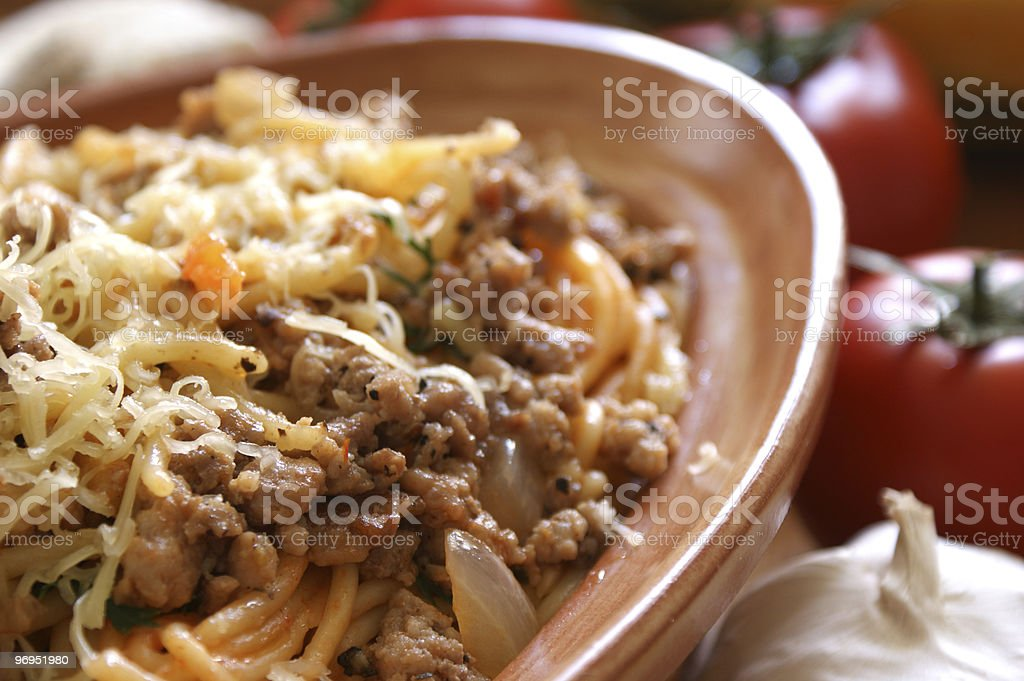 Spaghetti with mince meat and tomato sauce royalty-free stock photo