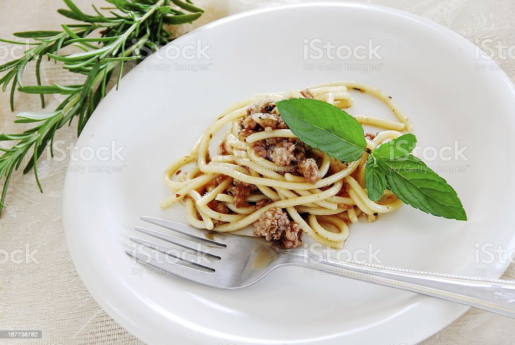 Spaghetti with minced meat stock photo