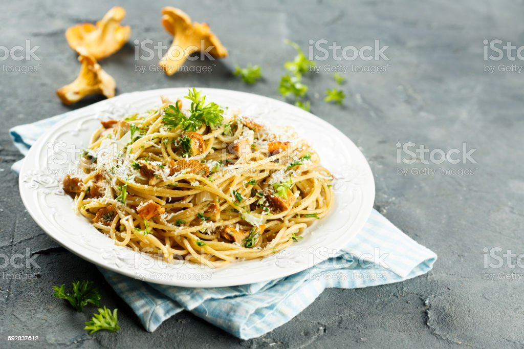 Spaghetti with mushrooms stock photo