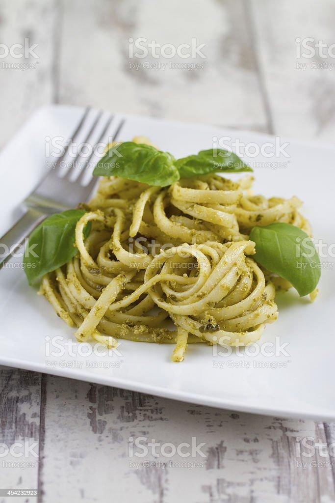 Spaghetti with Pesto and Basil royalty-free stock photo