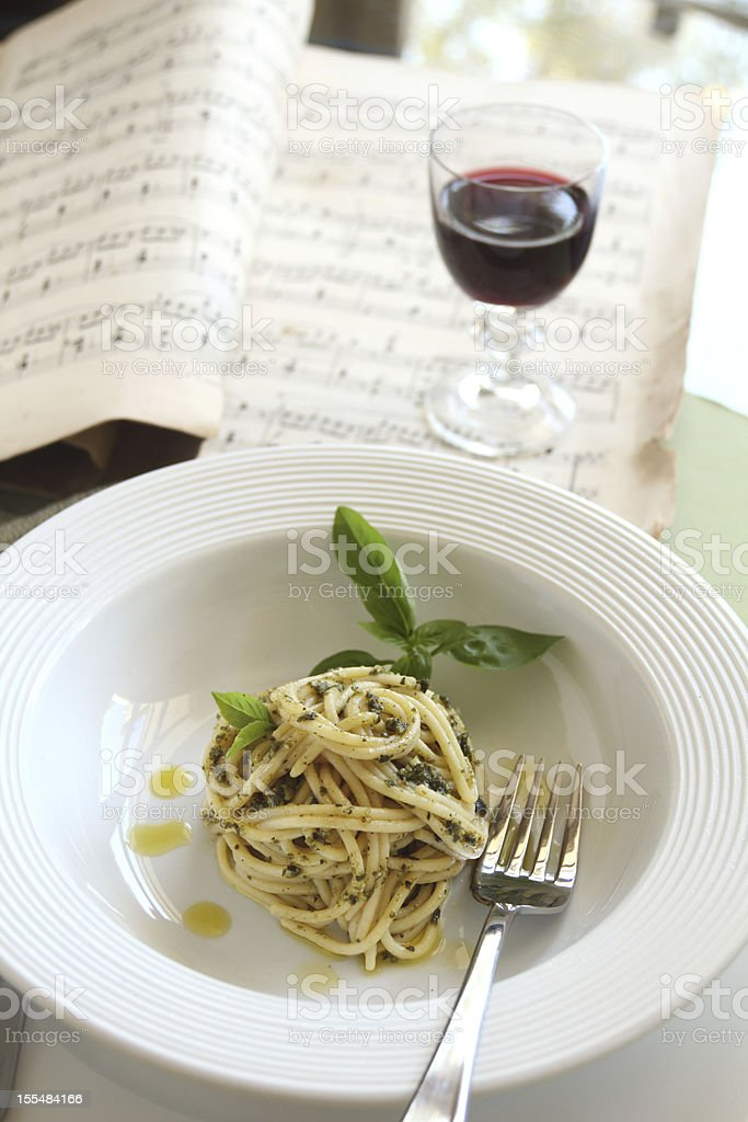 Spaghetti With Pesto royalty-free stock photo