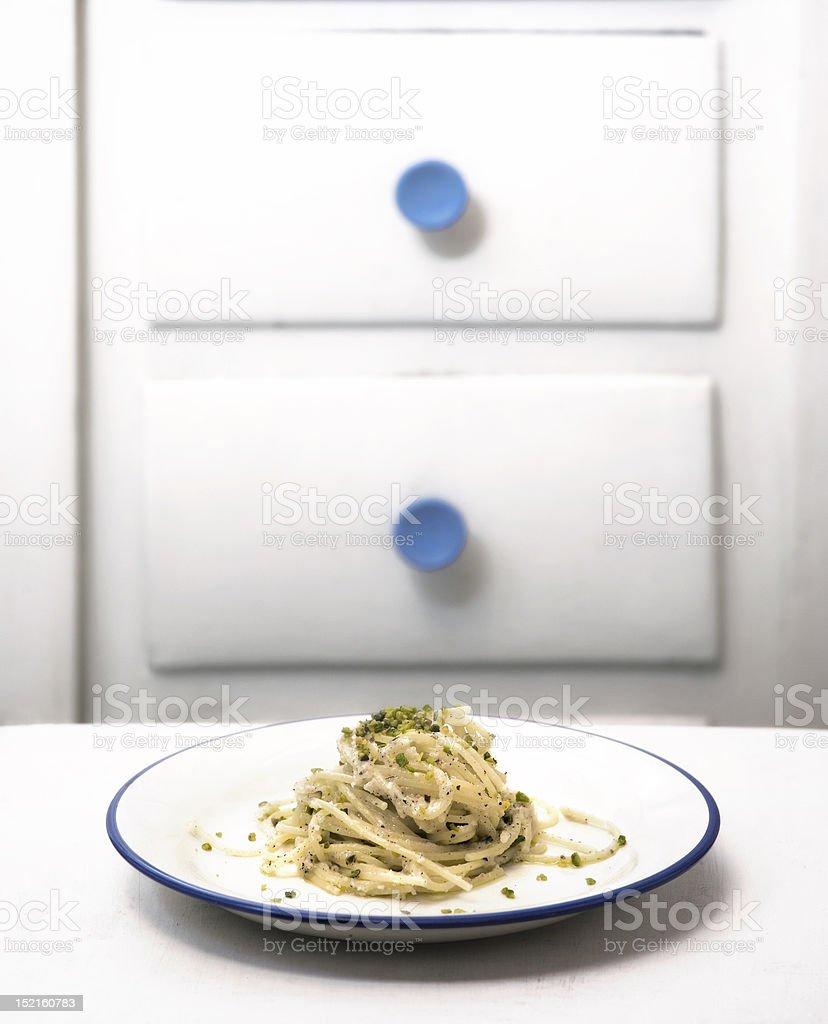 Spaghetti with pistachio royalty-free stock photo
