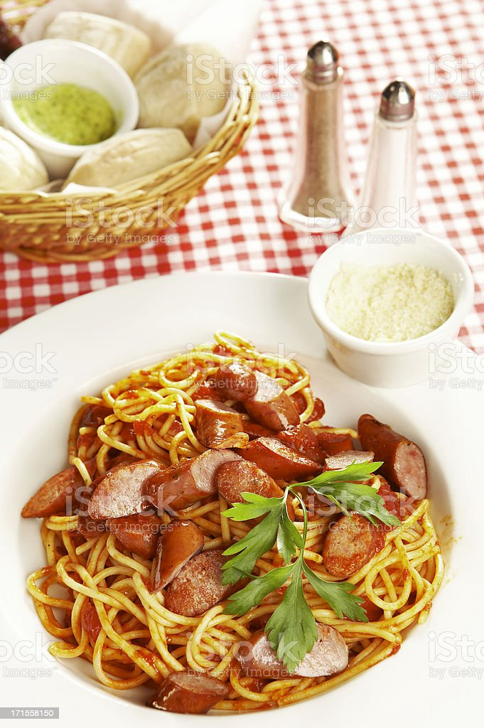 Spaghetti with sausages royalty-free stock photo