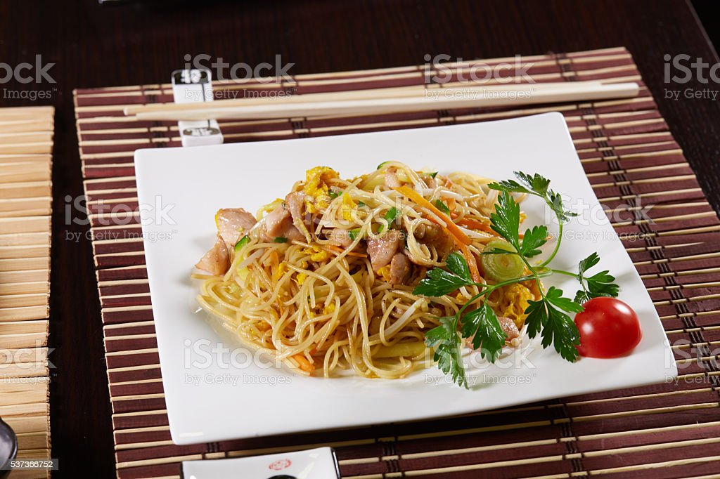 spaghetti with shrimps stock photo