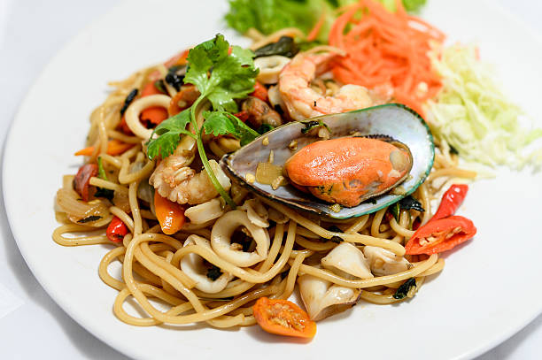 Spaghetti with spicy mixed seafood