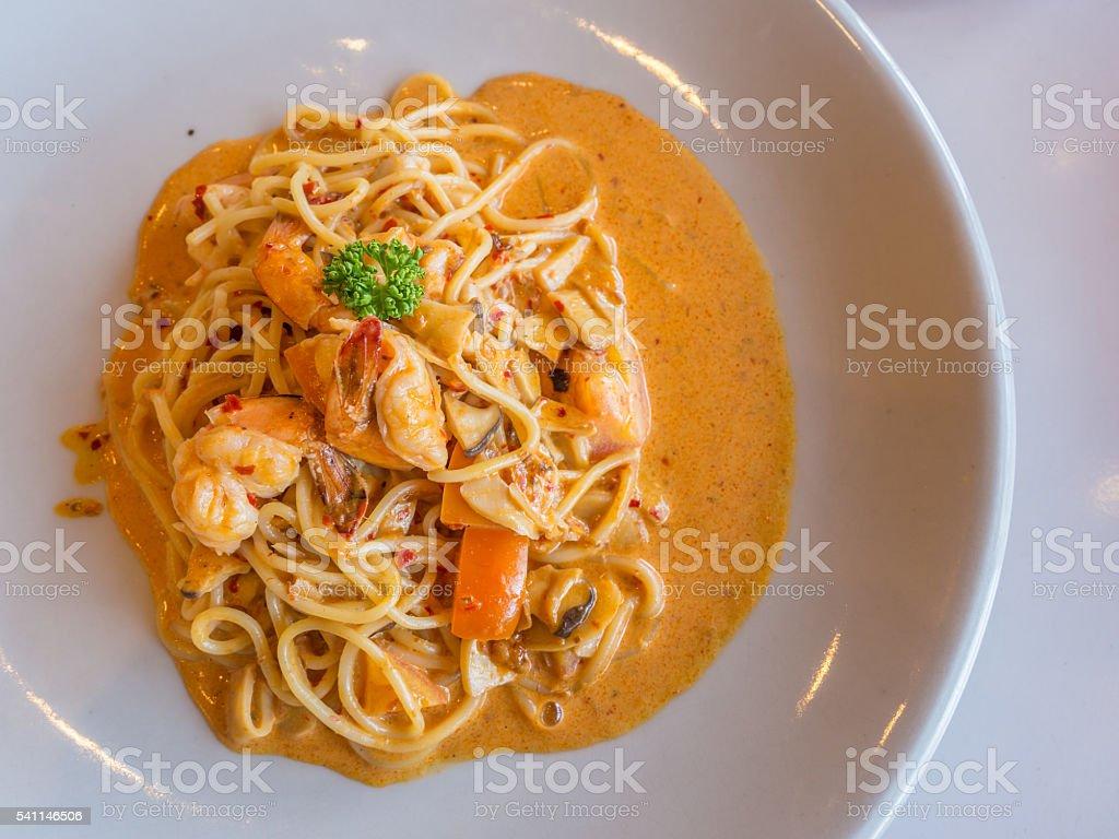 spaghetti with spicy shrimp sauce-4 stock photo