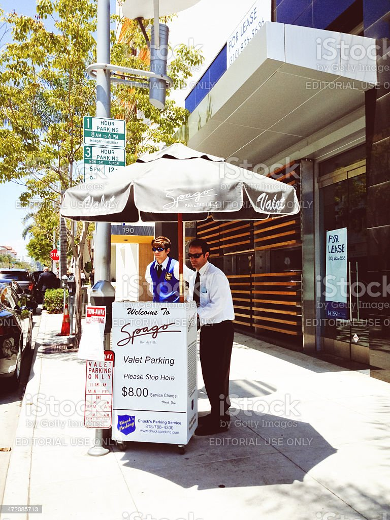 Spago Restaurant in Beverly Hills, Valet parking stock photo