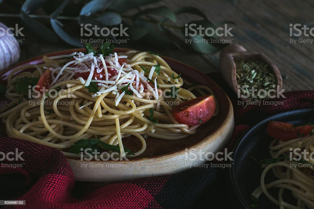 Spaguetti with tomato cheese and oregano royalty-free stock photo