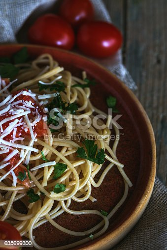 Spaguetti With Tomato Cheese And Oregano Stock Photo & More Pictures of Basil