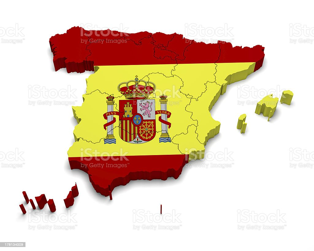 Spain 3D flag map on white royalty-free stock photo