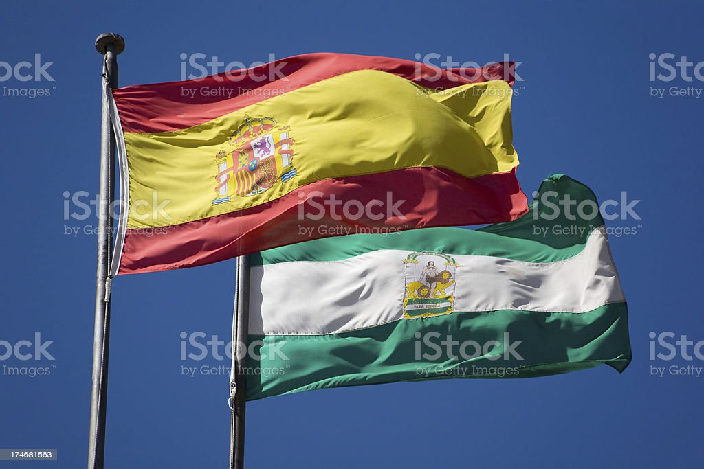 Spain and Andalucia flags royalty-free stock photo