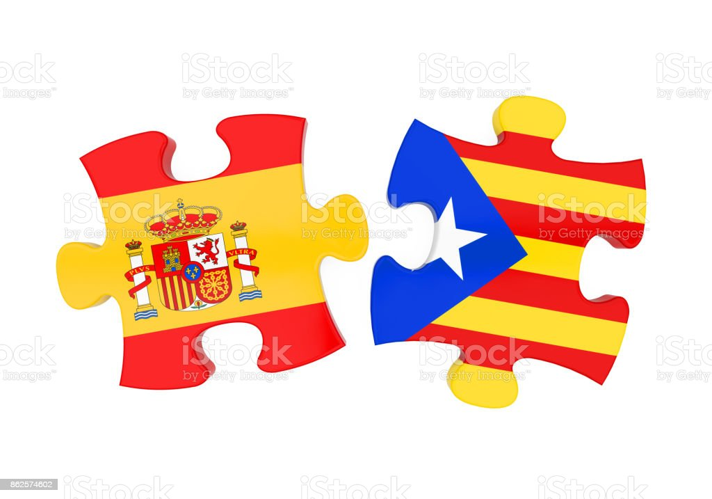 Spain and Catalonia Flags Puzzle Isolated stock photo