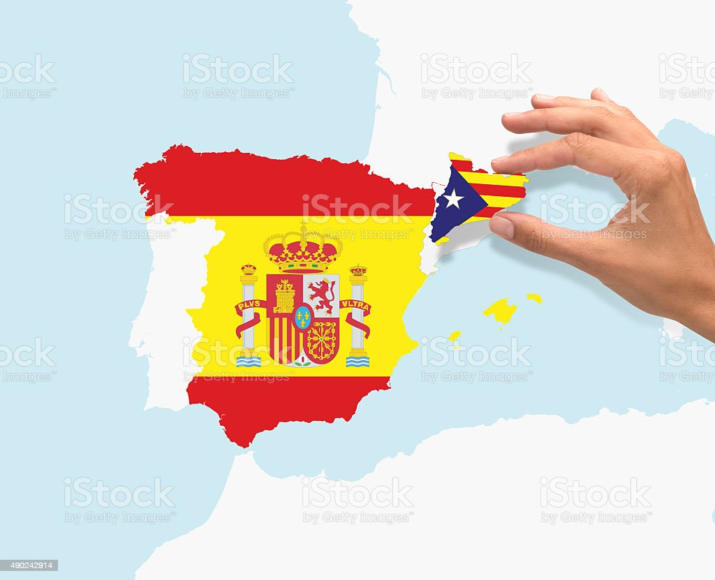 Spain and Catalonia on map stock photo