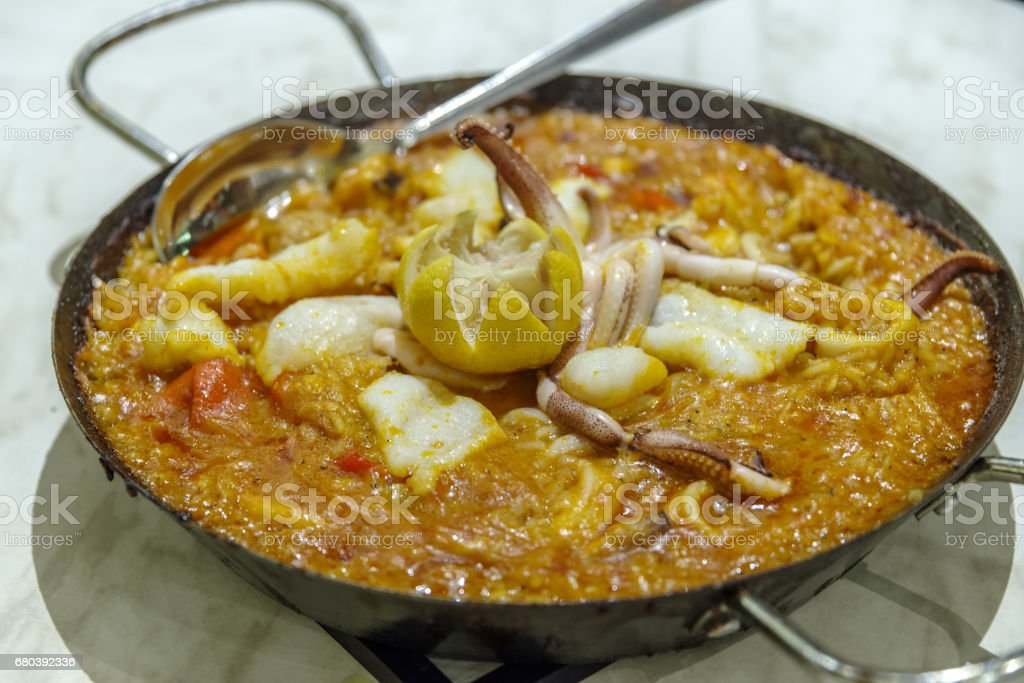 Spain and Filipino seafood Paella royalty-free stock photo