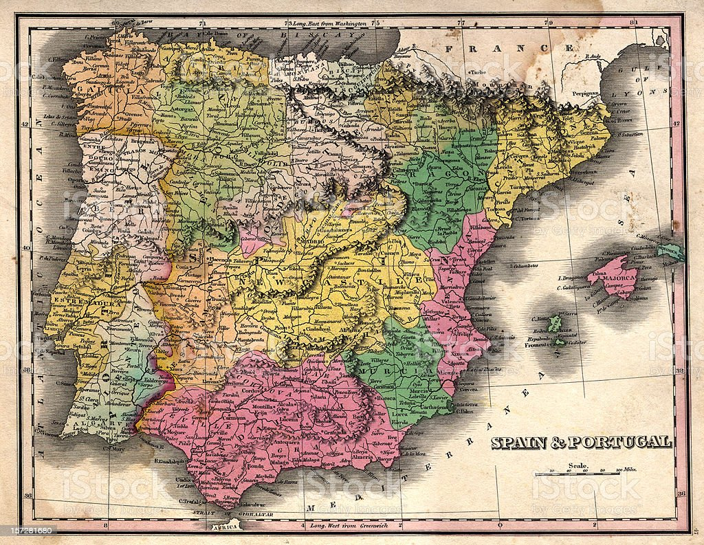spain and portugal vintage map stock photo