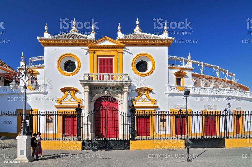 Spain, Andalusia, Sevilla, Plaza de Toros de la Real Maestranza de Caballeria de Sevilla, the Baroque facade of the bullring. stock photo