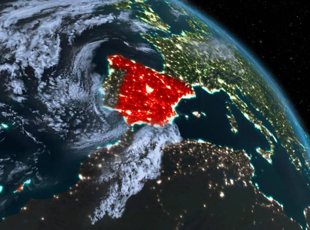España en la noche de la órbita - foto de stock