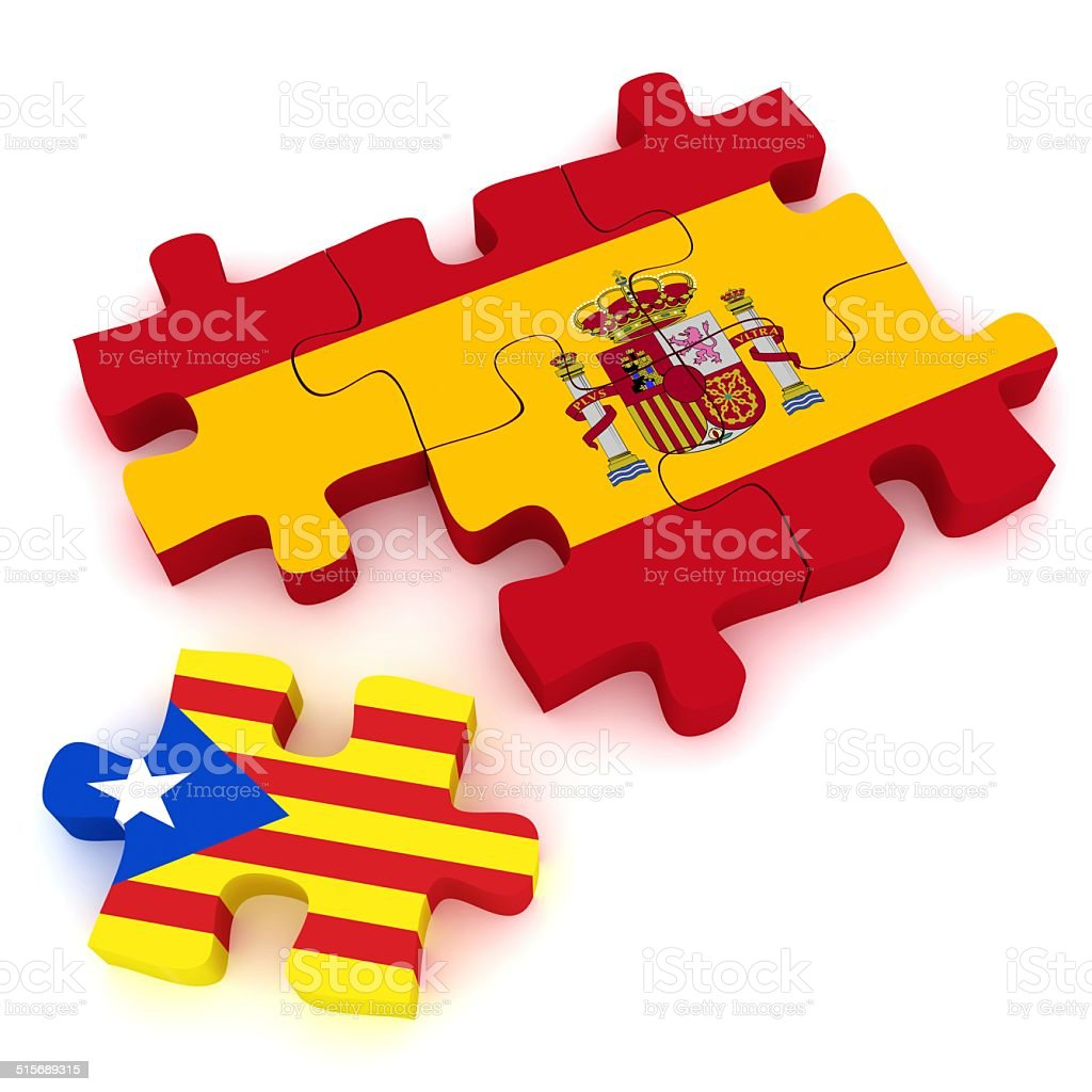 Spain Catalonia Flags Puzzle stock photo