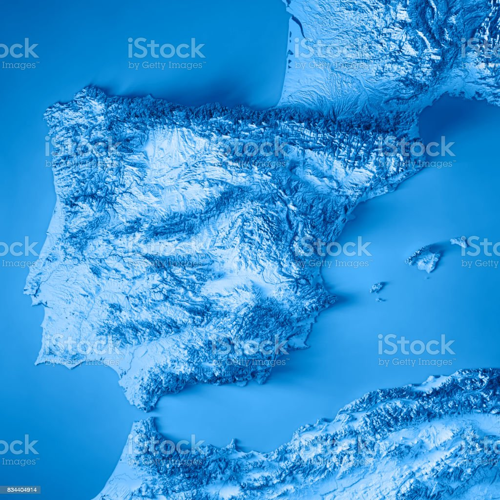 Topographical Map Of Spain.Spain Country 3d Render Topographic Map Blue Stock Photo Download