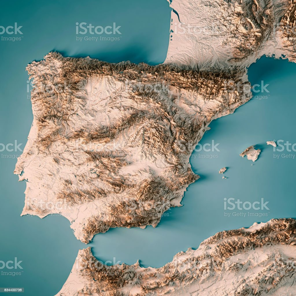 Topographical Map Of Spain.Spain Country 3d Render Topographic Map Neutral Stock Photo