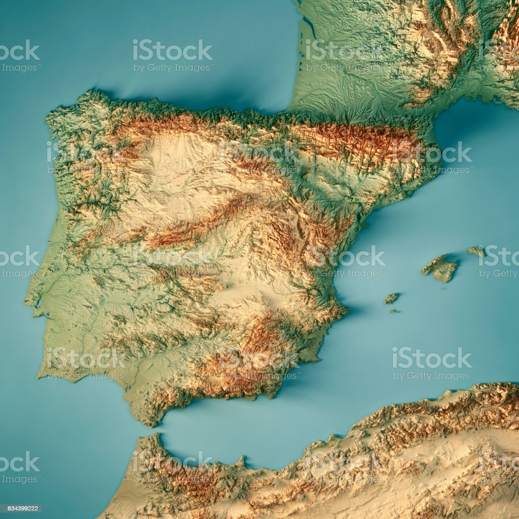 Topographical Map Of Spain.Spain Country 3d Render Topographic Map Stock Photo Download Image