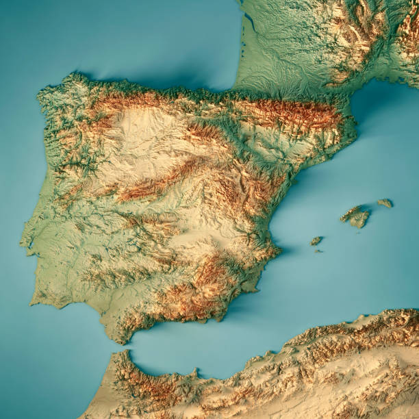 Spain Country 3D Render Topographic Map 3D Render of a Topographic Map of Spain. All source data is in the public domain. Color texture: Made with Natural Earth.  http://www.naturalearthdata.com/downloads/10m-raster-data/10m-cross-blend-hypso/ Relief texture and Rivers: SRTM data courtesy of USGS. URL of source image:  https://e4ftl01.cr.usgs.gov//MODV6_Dal_D/SRTM/SRTMGL1.003/2000.02.11/ Water texture: SRTM Water Body SWDB: https://dds.cr.usgs.gov/srtm/version2_1/SWBD/ topographic map stock pictures, royalty-free photos & images