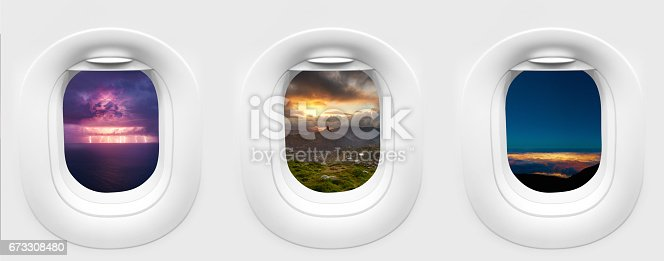 traveling concept photography; porthole inside airplane with three different landscapes in Spain- storm view from Mirador des balcons, Roque Bentayga, view from Cruz de Tejeda and Tenerife city lights by night.
