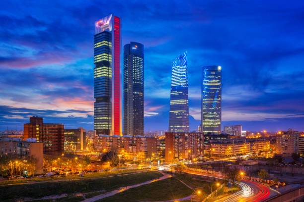 Spain financial district skyline at twilight in madrid city Madrid, Spain financial district skyline at twilight in madrid city. iberian stock pictures, royalty-free photos & images