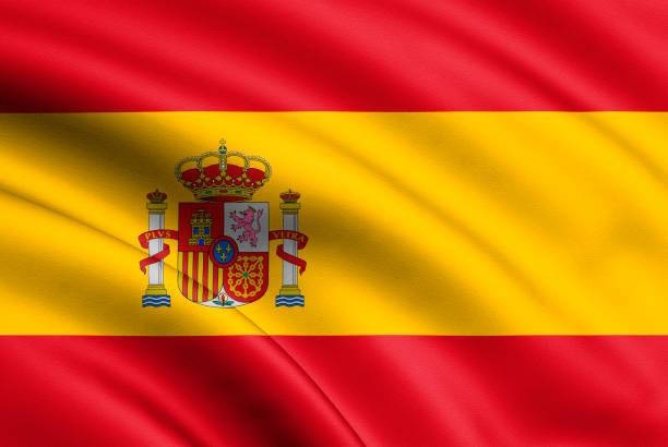 spanien-flagge im wind wehen. hintergrundtextur. 3d rendering, welle. -illustration - fußball poster stock-fotos und bilder
