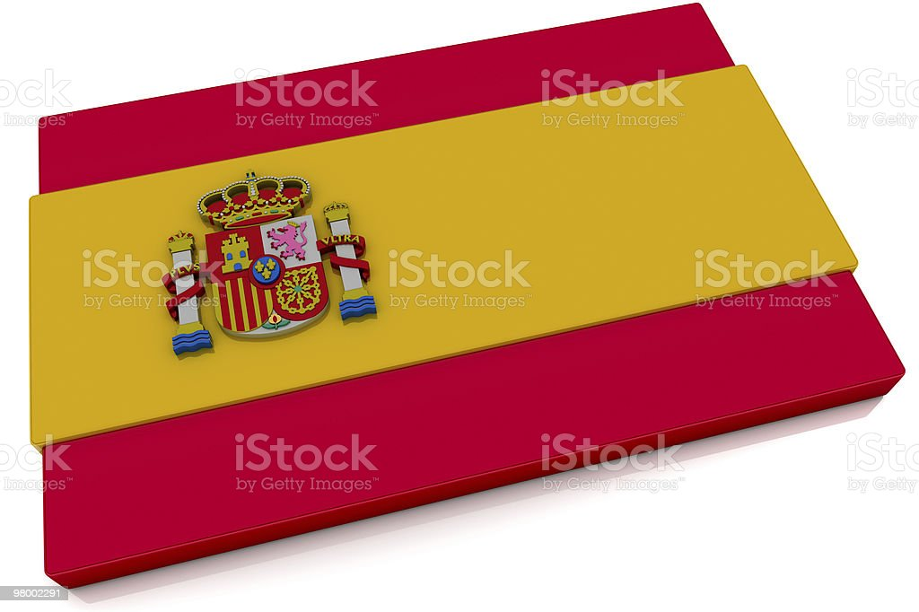 3D Spain Flag Button royalty-free stock photo